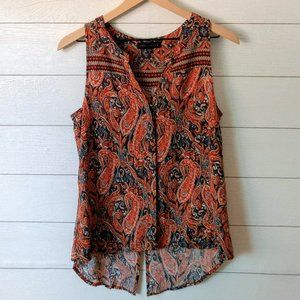Sanctuary Paisley Button Front Sleeveless Blouse S